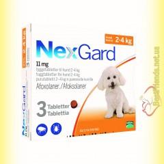 NexGard Таблетки від бліх та кліщів для собак вагою від 2 до 4кг