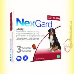 NexGard Таблетки от блох и клещей для собак весом от 25 до 50кг