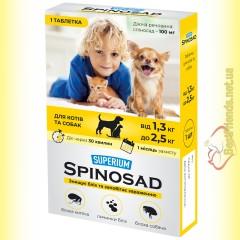 SUPERIUM Spinosad Таблетка від бліх для собак та котів вагою від 1,3 до 2,5кг
