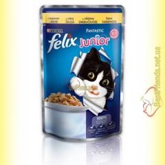 Felix Fantastic Junior кусочки с Курицей в желе 100гр