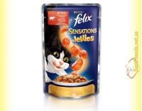 Купить Felix Sensations Jellies с Говядиной в желе с томатами 100гр