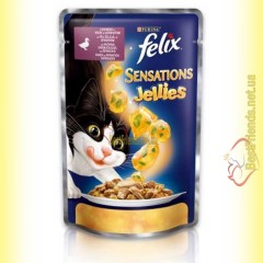 Felix Sensations Jellies с Уткой в желе со шпинатом 100гр