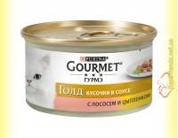 Купить Gourmet Gold кусочки в подливке с Лососем и Цыпленком 85гр