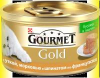 Купить Gourmet Gold кусочки в паштете с уткой, морковью и шпинатом по-французски 85гр