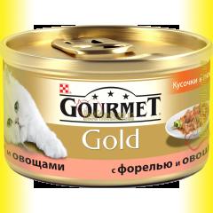 Gourmet Gold кусочки в подливке с форелью и овощами 85гр