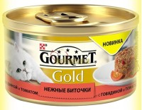 Купить Gourmet Gold Нежные биточки с говядиной и томатом 85гр