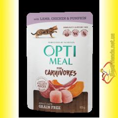 Optimeal Grain Free with Lamb Беззерновой корм для взрослых кошек с Ягненком 85гр