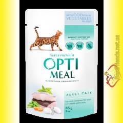 Optimeal with Cod Fish&Vegetables для взрослых кошек с Треской и овощами 85гр