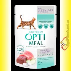 Optimeal Hairball Control with Duck&Liver для кошек с Эффектом выведения шерсти с Уткой и Печенью 85гр