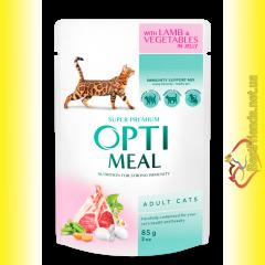 Optimeal with Lamb&Vegetables для взрослых кошек с Ягненком и овощами 85гр