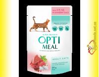 Купить Optimeal with Veal для взрослых кошек с Телятиной в клюквенном соусе 85гр