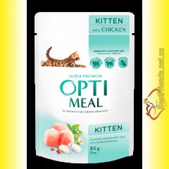 Optimeal Kittens для котят с Курицей 85гр