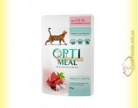 Купить Optimeal wint Veal для взрослых кошек - с Телятиной в клюквенном соусе 85гр
