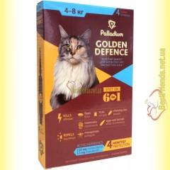 Palladium GOLDEN DEFENCE капли от паразитов для кошек весом от 4 до 8кг