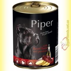 Piper консерва для собак с говяжьей печенью и картофелем 800гр