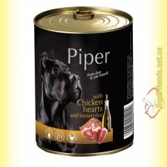 Piper консерва для собак с куриным сердцем и коричневым рисом 400гр
