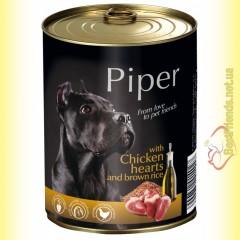 Piper консерва для собак с куриным сердцем и коричневым рисом 800гр