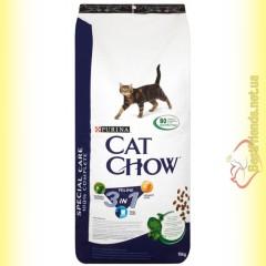 Purina Cat Chow Feline 3in1 для взрослых кошек с индейкой 15кг
