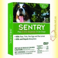 SENTRY капли на холку от блох, клещей и комаров для собак весом более 30кг