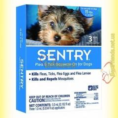 SENTRY капли от блох, клещей и комаров для собак весом до 7кг