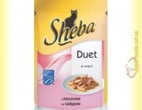 Купить Sheba Duet с лососем и сайдой в соусе 85гр