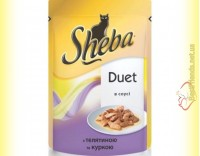 Купить Sheba Duet с телятиной и курицей в соусе 85гр
