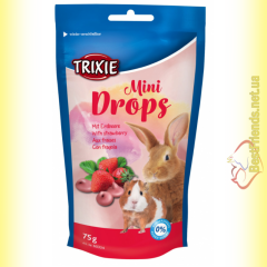 Trixie Mini Drops Дропсы для грызунов, клубника 75гр