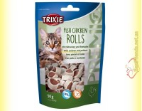 Купить Trixie Premio Fish Chicken Rolls Лакомство для кошек рулеты - курица и сайда 50гр