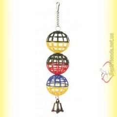 Trixie Игрушка для птиц 3 пластиковых шарика с колокольчиком