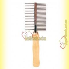 Trixie Расчёска двухсторонняя 17см, с деревяной ручкой