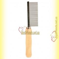 Trixie Расчёска со средним зубом 18см, с деревяной ручкой