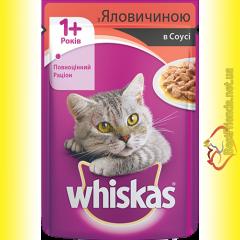 Whiskas 1+ с Говядиной в соусе, пауч 100гр