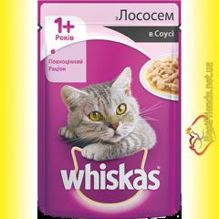Whiskas 1+ с Лососем в соусе, пауч 100гр