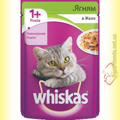 Whiskas 1+ с Ягненком в желе, пауч 100гр