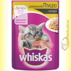 Whiskas Junior с домашней Птицей в соусе, пауч 100гр