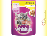 Купить Whiskas Junior с Курицей в желе, пауч 100гр