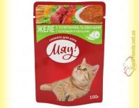 Купить Мяу! для кошек Телятина с овощами в желе, пауч 100гр